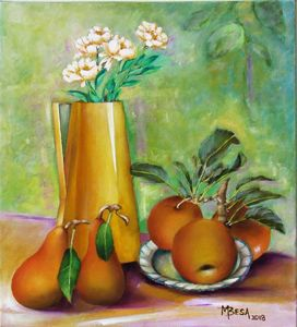 Yellow Pitcher with pears and apples