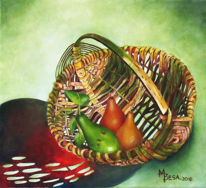 Avocado with 2 pears in a basket - Miriam B. Besa