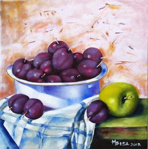 Bowl of Plums with an Apple