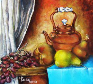 Fruits with Copper Tea Pot