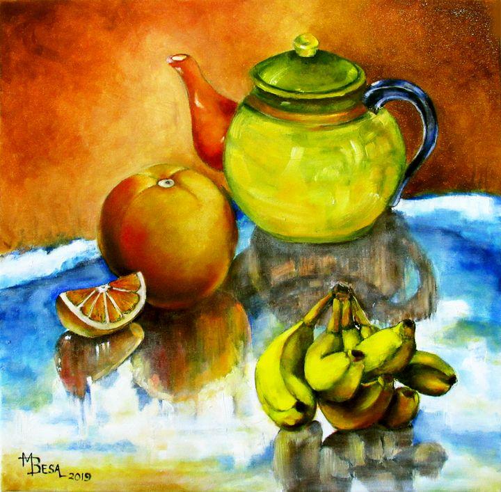 Multi-colored Tea Pot and Fruits - Miriam B. Besa