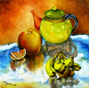 Multi-colored Tea Pot and Fruits