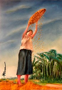 Woman Sifting Rice