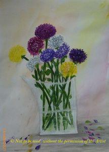 Dahlias Flowers in a Crystal Vase A3