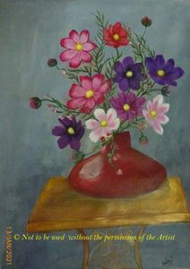 Flowers in a Red Vase (A3)