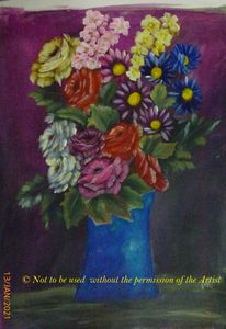 Flowers in a Blue Vase (A3)