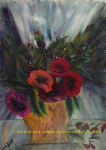 Hibiscus Flowers in a Goldish Vase