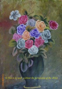 Mix Colour Roses in a Vase (A3)