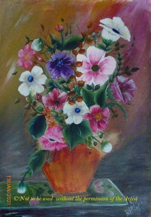 Flowers in a Brownish Vase (A3) - Alresaama Aloula