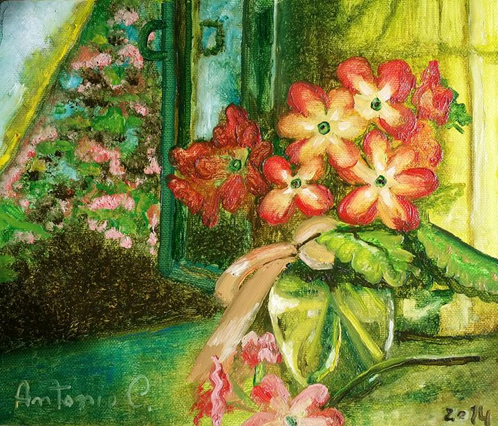 vase with flower behind the window - art of web