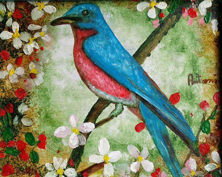 bird with flowers - art of web