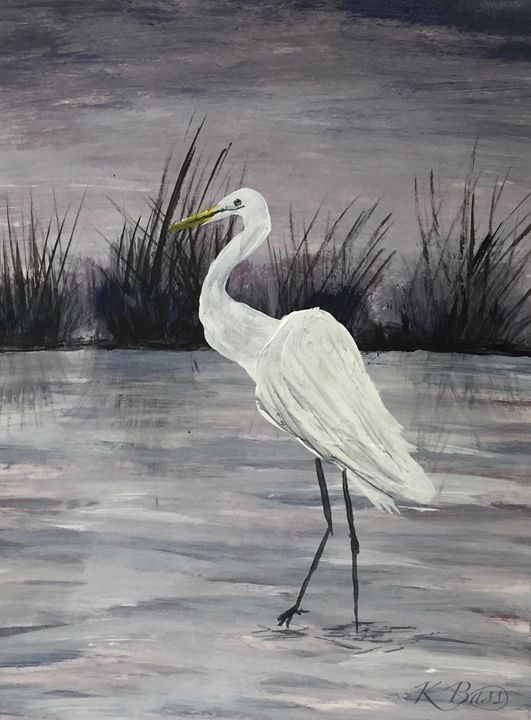 Egret Studies I - K Bass Art