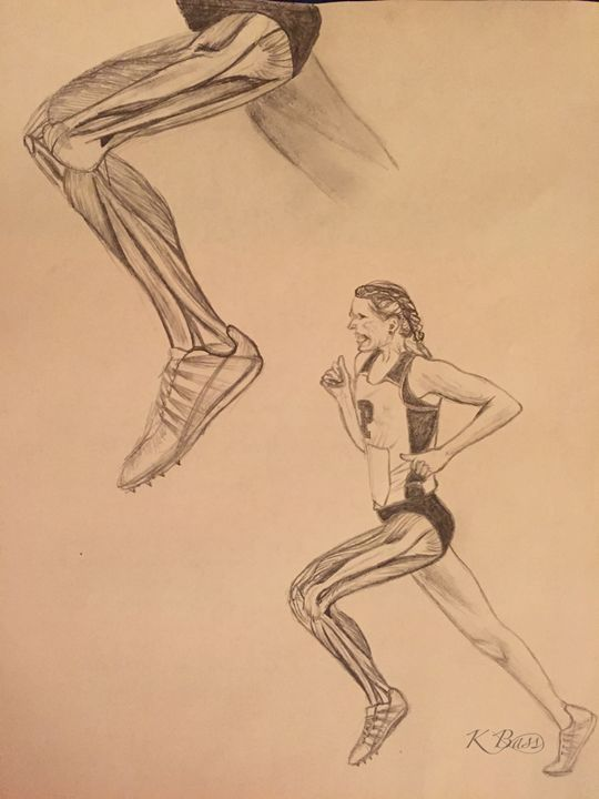 Running Leg Anatomy (Lateral View) - K Bass Art