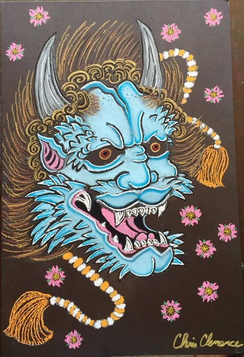 """Demon with Cherry Blossoms"" - Art by Chris Clemence"