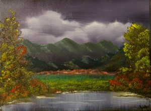 Purple View- Original 9 by 12 Oil