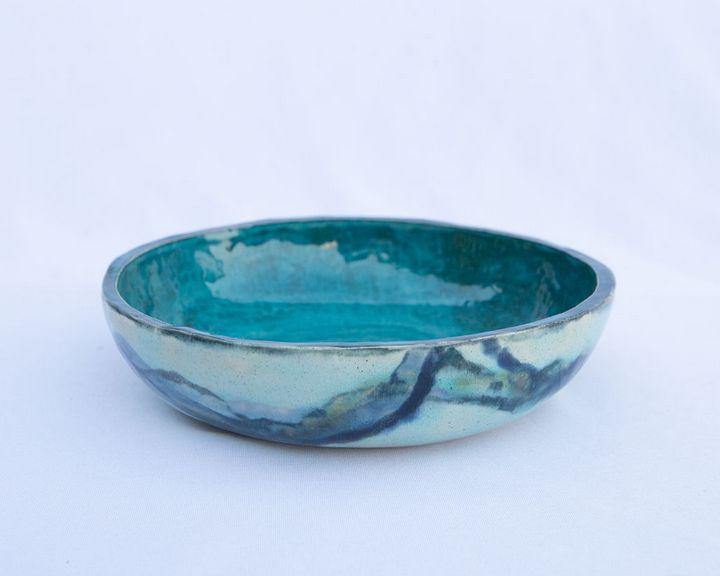 handmade stoneware bowl,turquoise - Crooked River Art Co