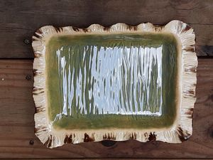 Rustic stoneware serving plate
