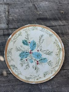 Holly Platter,Christmas, round - Crooked River Art Co