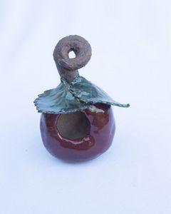 Stoneware apple birdhouse/feeder - Crooked River Art Co