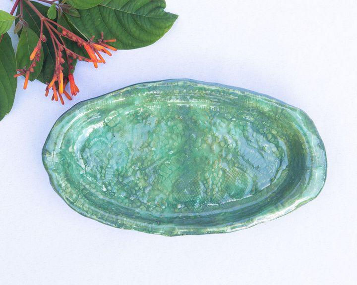 Handmade stoneware horsd'oeuvre dish - Crooked River Art Co