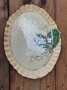 Holly and Spruce stoneware plate