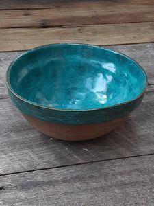 Handmade stoneware mixing bowl