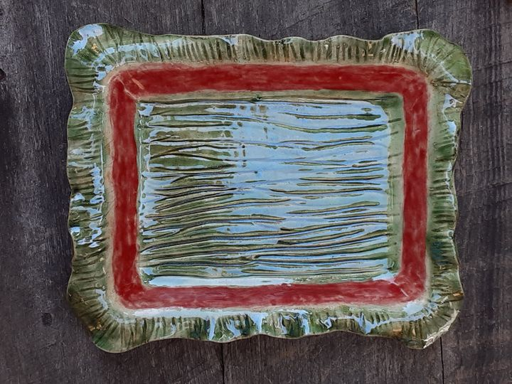 Stoneware Platter, small Christmas - Crooked River Art Co