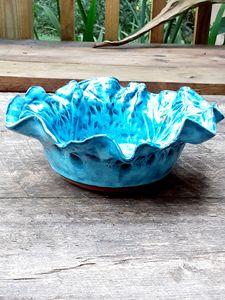 Ruffle Bowl, handmade stoneware