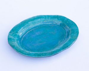 Turquoise oval plate - Crooked River Art Co
