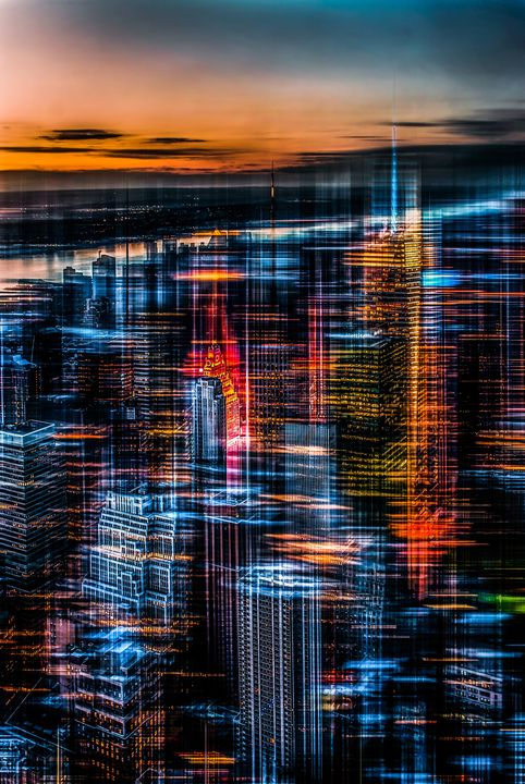 New York: the night awakes - orange - hannes cmarits photography