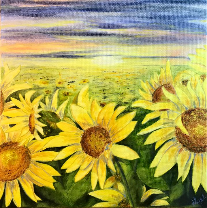 SUNFLOWERS, oil painting on canvas - Art Gallery by S.Shavrina