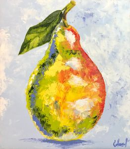 PRINT Pear painting on canvas