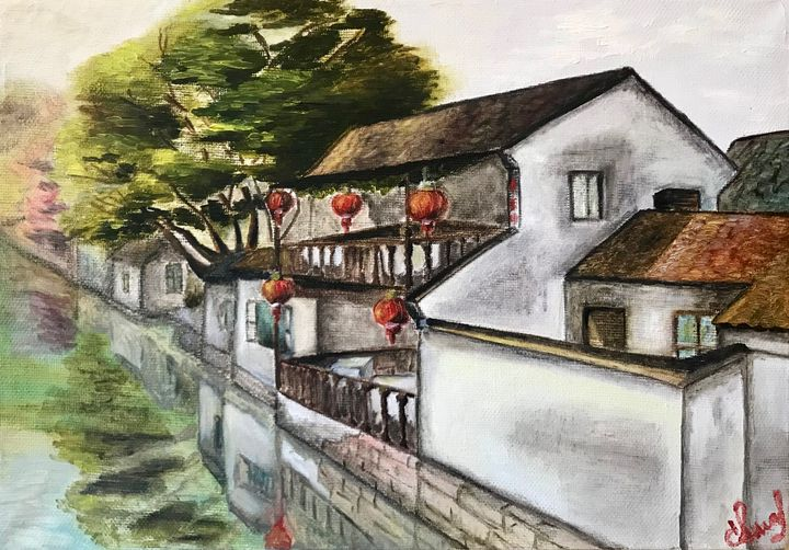 CHINESE VENICE Zhouzhuang, oil art - Art Gallery by S.Shavrina