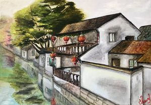 CHINESE VENICE Zhouzhuang, oil art