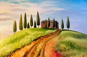 PRINT Toscana, Italy of oil painting