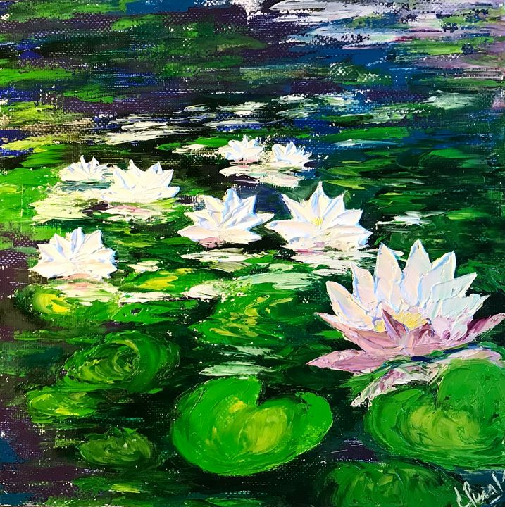 WHITE WATER LILIES painting original - Art Gallery by S.Shavrina