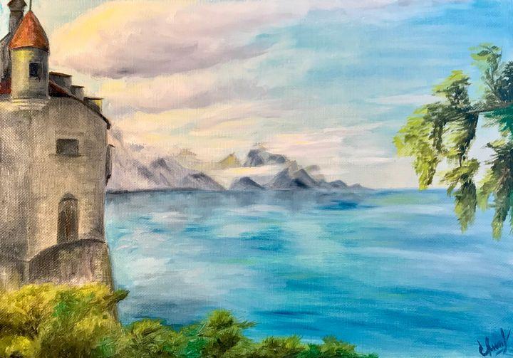 GENEVA LAKE, oil painting, original - Art Gallery by S.Shavrina