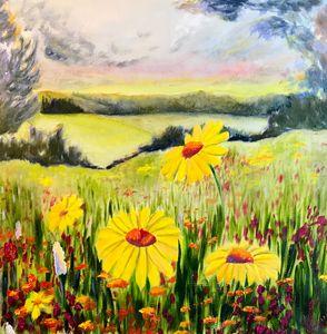 WILDFLOWERS oil painting, original