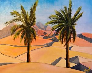 DUNES UAE, oil painting, original