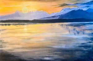 SUNSET oil painting, original