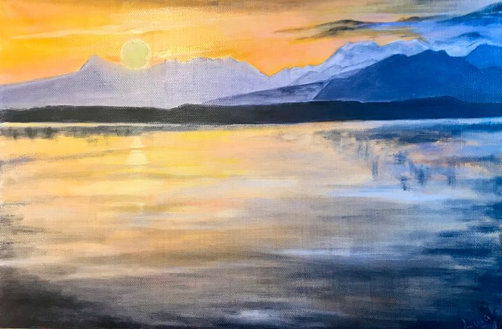 SUNSET oil painting, original - Art Gallery by S.Shavrina