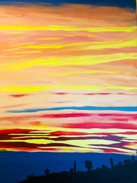 Suset at Pylos Greece - Alan Jackson's Paintings