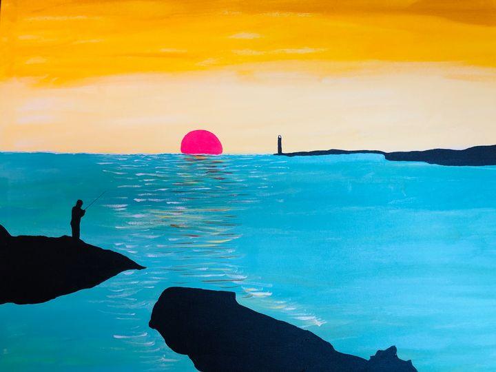 Sunset at Stanley Harbour Hong Kong - Alan Jackson's Paintings