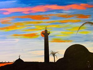 Sunset behind the minaret