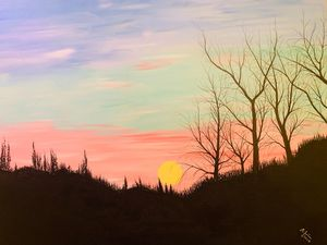 The Moon rising over winter woods