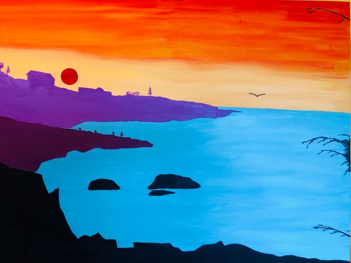 sunset with seagull - Alan Jackson's Paintings