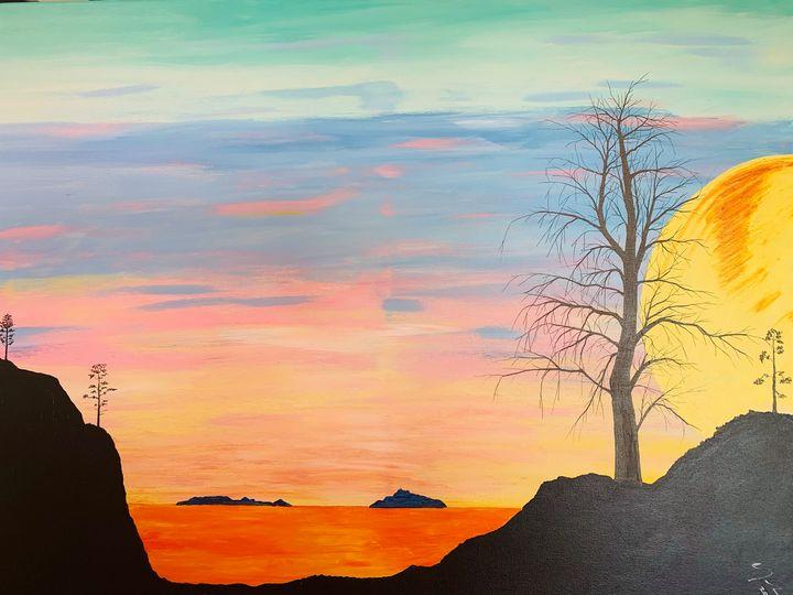 The Moon setting over the sea - Alan Jackson's Paintings