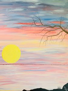 Pastel dawn and the setting Moon