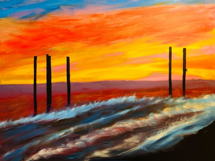The West Pier Brighton.Sunset - Alan Jackson's Paintings