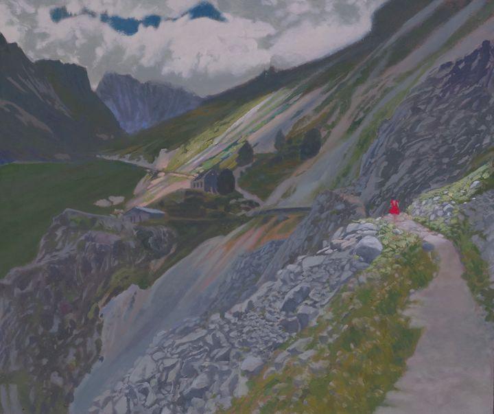 climb path to Garganta del Cares - jose perlado-watercolors